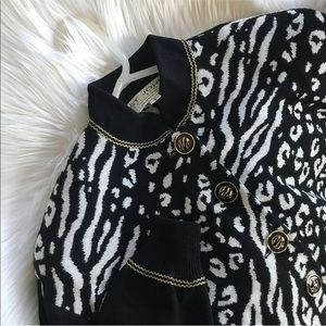St John Knit Animal Print Cardigan Buttoned Zebra